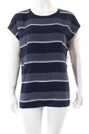 Tommy Hilfiger Blouse met korte mouwen donkerblauw-wit gestippeld patroon
