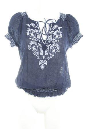 Tommy Hilfiger Kurzarm-Bluse dunkelblau-wollweiß florales Muster Elegant