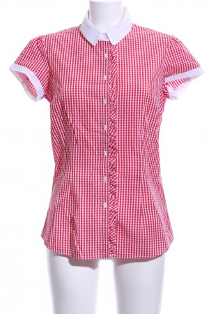 Tommy Hilfiger Kurzarm-Bluse rot-weiß Karomuster Casual-Look