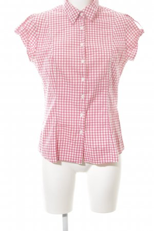 Tommy Hilfiger Kurzarm-Bluse pink-weiß Karomuster Casual-Look