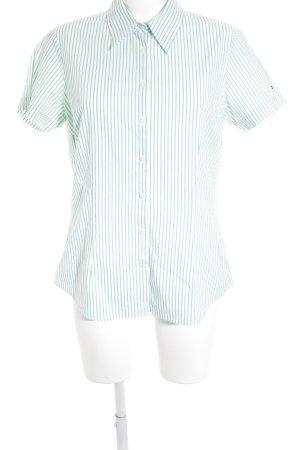 Tommy Hilfiger Kurzarm-Bluse grün-weiß Streifenmuster Casual-Look