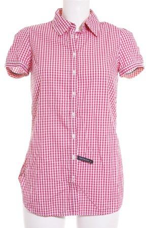 Tommy Hilfiger Blusa de manga corta rosa-blanco estampado a cuadros look casual