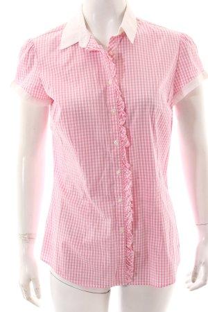Tommy Hilfiger Blouse met korte mouwen roze-wit geruite print klassieke stijl