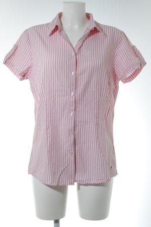 Tommy Hilfiger Kurzarm-Bluse rosa-weiß Streifenmuster Casual-Look