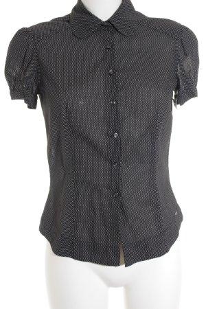 Tommy Hilfiger Kurzarm-Bluse schwarz-weiß Punktemuster klassischer Stil