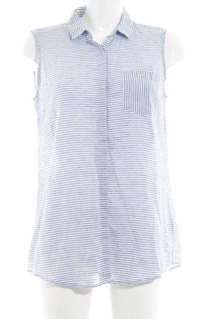 Tommy Hilfiger Kurzarm-Bluse weiß-blau Streifenmuster Business-Look