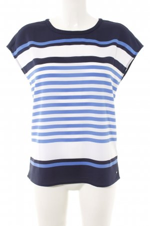 Tommy Hilfiger Kurzarm-Bluse weiß-blau Streifenmuster Casual-Look
