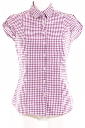 Tommy Hilfiger Kurzarm-Bluse weiß-lila Karomuster Casual-Look