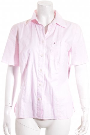 Tommy Hilfiger Kurzarm-Bluse weiß-rosa Karomuster Casual-Look