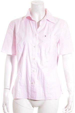 Tommy Hilfiger Blouse met korte mouwen wit-roze geruite print casual uitstraling