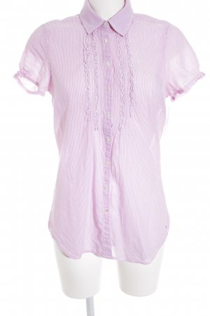 Tommy Hilfiger Kurzarm-Bluse weiß-rosa Streifenmuster Casual-Look