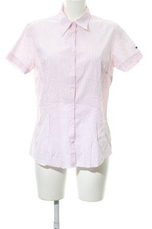 Tommy Hilfiger Kurzarm-Bluse weiß-rosa Streifenmuster Casual-Look