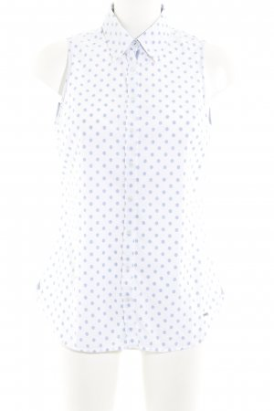 Tommy Hilfiger Kurzarm-Bluse wollweiß-stahlblau Punktemuster schlichter Stil