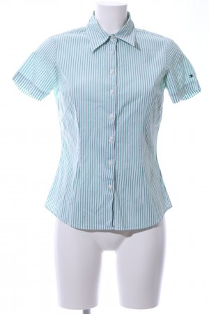 Tommy Hilfiger Short Sleeve Shirt turquoise-white striped pattern casual look