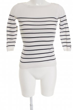 Tommy Hilfiger Sweater met korte mouwen wit-donkerblauw gestreept patroon