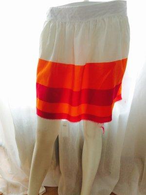 Tommy Hilfiger Kurzer Rock Gr. 4 XS Neu Mit Orange Pink Gestreift Cream Weiß