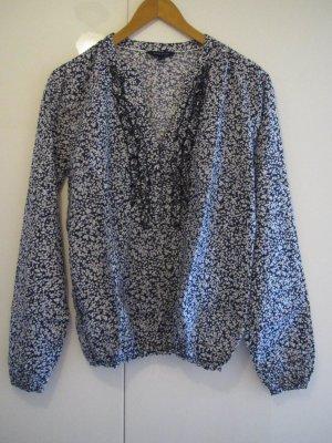 Tommy Hilfiger – langärmelige Bluse mit Blumenprint in blau-weiss
