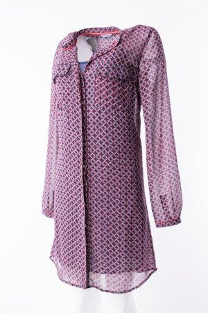 TOMMY HILFIGER - Langärmeliges Kleid mit Unterkleid Rot-Blau gemustert