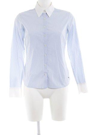 Tommy Hilfiger Langarm-Bluse neonblau-weiß Streifenmuster Business-Look