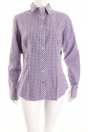Tommy Hilfiger Langarm-Bluse blauviolett-weiß Karomuster Casual-Look