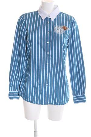 Tommy Hilfiger Langarm-Bluse blau-weiß Allover-Druck Casual-Look