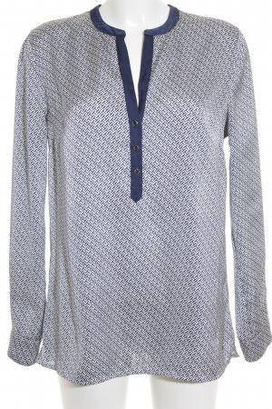 Tommy Hilfiger Langarm-Bluse graublau-wollweiß abstraktes Muster Casual-Look