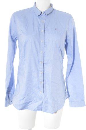 Tommy Hilfiger Langarm-Bluse kornblumenblau-weiß Business-Look