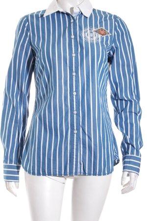 Tommy Hilfiger Langarm-Bluse stahlblau-weiß Streifenmuster Marine-Look