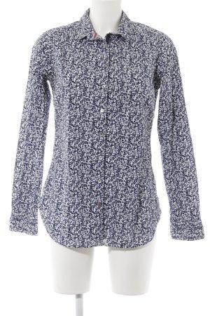 Tommy Hilfiger Langarm-Bluse weiß-dunkelblau Blumenmuster Casual-Look