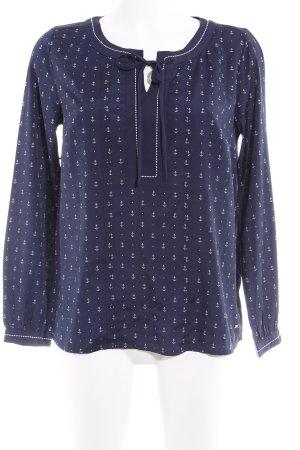 Tommy Hilfiger Langarm-Bluse weiß-dunkelblau Motivdruck Marine-Look