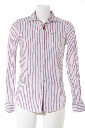Tommy Hilfiger Langarm-Bluse weiß-dunkelrot Streifenmuster Casual-Look