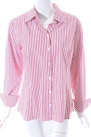 Tommy Hilfiger Langarm-Bluse weiß-dunkelrot Streifenmuster klassischer Stil