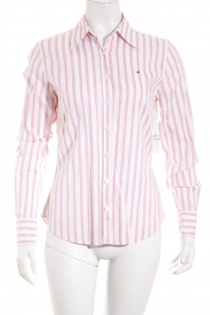 Tommy Hilfiger Langarm-Bluse weiß-rosa Streifenmuster Casual-Look