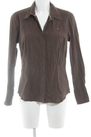 Tommy Hilfiger Camisa de manga larga marrón oscuro estilo «business»