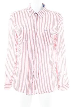 Tommy Hilfiger Langarmhemd karminrot-weiß Streifenmuster klassischer Stil