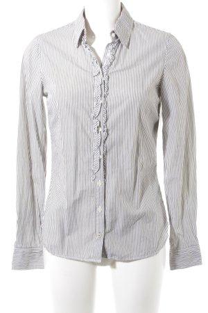 Tommy Hilfiger Langarmhemd weiß-graubraun Streifenmuster Casual-Look