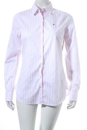 Tommy Hilfiger Langarmhemd weiß-hellrosa Streifenmuster klassischer Stil