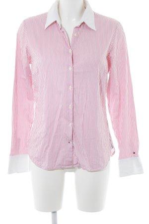 Tommy Hilfiger Langarmhemd weiß-rosa Streifenmuster klassischer Stil