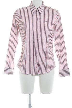 Tommy Hilfiger Chemise à manches longues blanc cassé-rouge foncé motif rayé