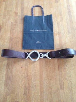Tommy Hilfiger Cinturón de cuero marrón-color bronce Cuero