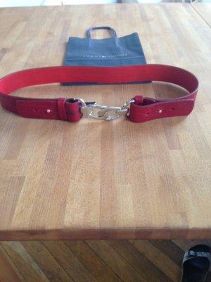 Tommy Hilfiger Cinturón de cuero rojo oscuro-carmín Cuero