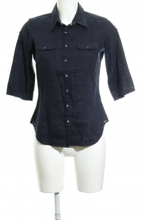 Tommy Hilfiger Blusa de lino azul oscuro estilo sencillo
