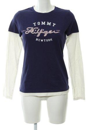 Tommy Hilfiger Manica lunga viola scuro-bianco sporco Stampa a tema stile casual