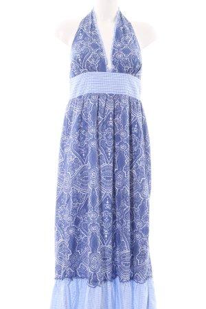 Tommy Hilfiger Vestido largo azul estampado repetido sobre toda la superficie