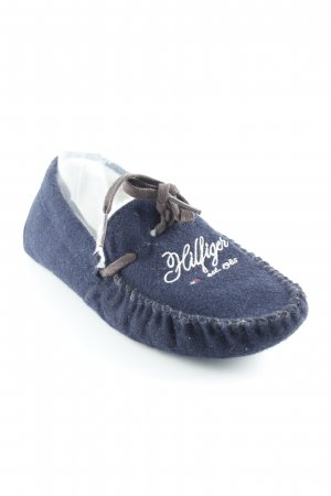 Tommy Hilfiger Pantoffeln dunkelblau-wollweiß Schriftzug gestickt Marine-Look