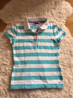 Tommy Hilfiger Polo blau weiß gestreift M 36 38 Shirt tshirt Oberteil