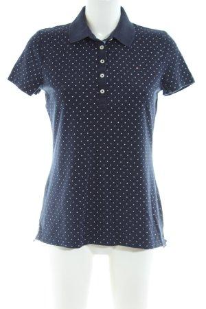 Tommy Hilfiger Polo-Shirt blau-weiß Allover-Druck Casual-Look