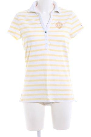 Tommy Hilfiger Polo-Shirt blassgelb-weiß Streifenmuster Casual-Look