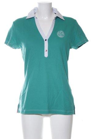 Tommy Hilfiger Polo-Shirt türkis-hellgrau Schriftzug gedruckt Casual-Look