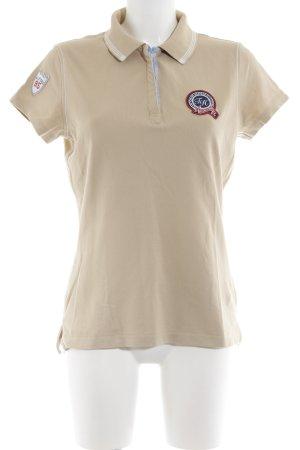 Tommy Hilfiger Polo-Shirt creme Schriftzug gestickt Casual-Look